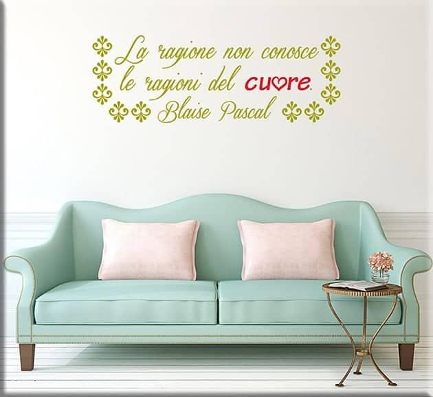 decorazioni adesive murali frase Blaise Pascal