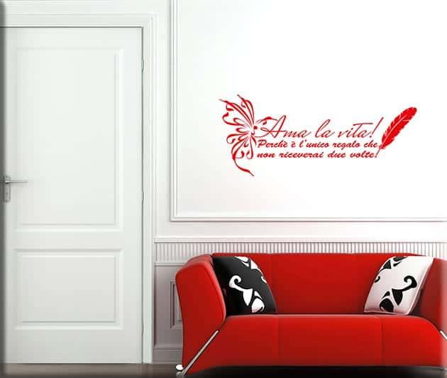 decorazioni adesive murali frase ama la vita