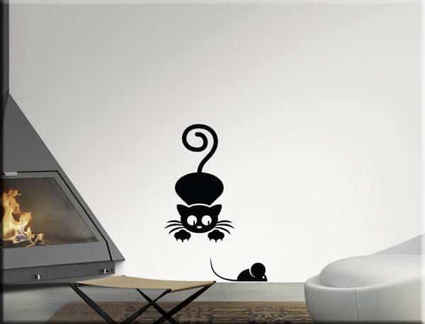 decorazioni adesive murali gatto e topo
