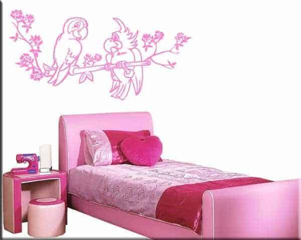 decorazioni adesive murali pappagalli bambini