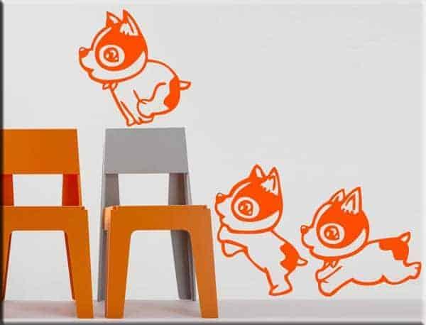 decorazioni adesive murali tre cagnolini bambini