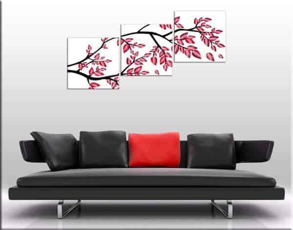 tris quadri moderni stampa albero