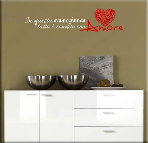wall stickers frase amore cucina