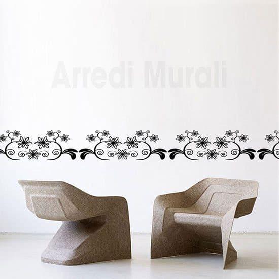 Adesivi murali greca floreale nero