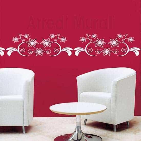 Adesivi murali greca floreale bianco