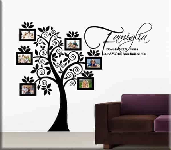 Adesivi murali portafoto albero famiglia for Famiglia parete