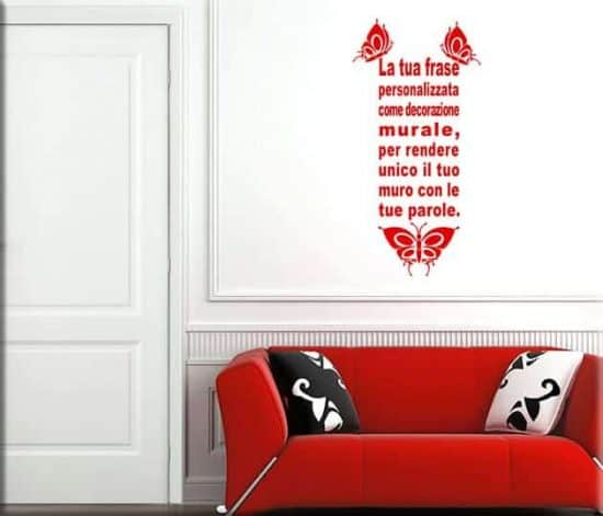 adesivi da parete frase personalizzata farfalle