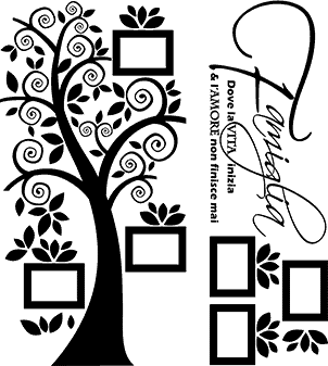adesivi murali albero e cornici 2 pezzi