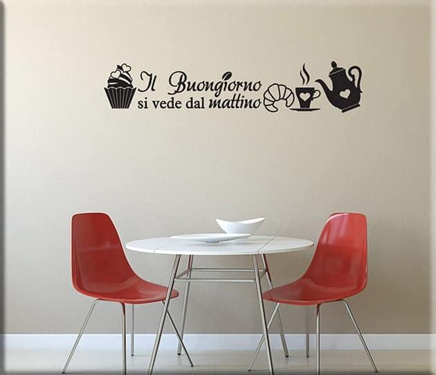 Decorazioni murali frase colazione cucina arredimurali - Decorazioni murali per cucina ...