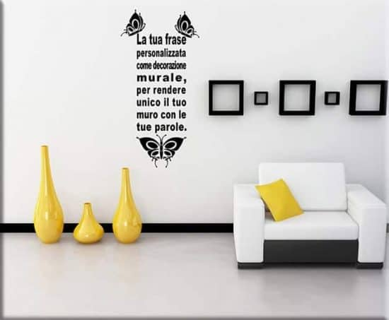 adesivi murali frase personalizzata farfalle