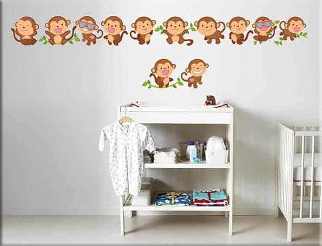 adesivi murali greche scimmiette bimbi