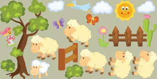 adesivi pecorelle bimbi