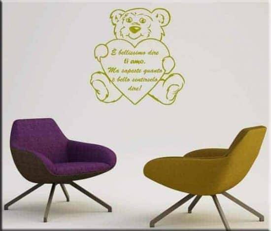 decorazioni adesive murali orsacchiotto frase love