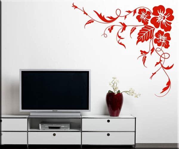 adesivi da parete angolo fiori