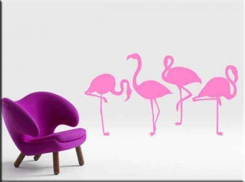 adesivi murali fenicotteri rosa