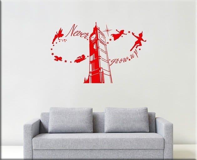 decorazioni adesive murali frase peter pan