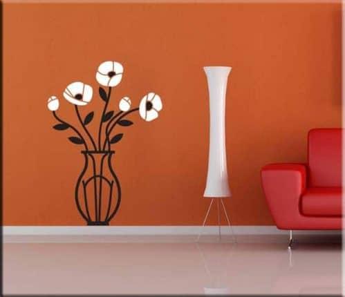 Adesivi da parete vaso con fiori arredo