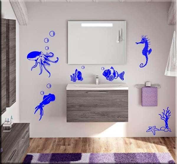Adesivi murali animali marini bagno arredo - Appendiabiti da bagno ...
