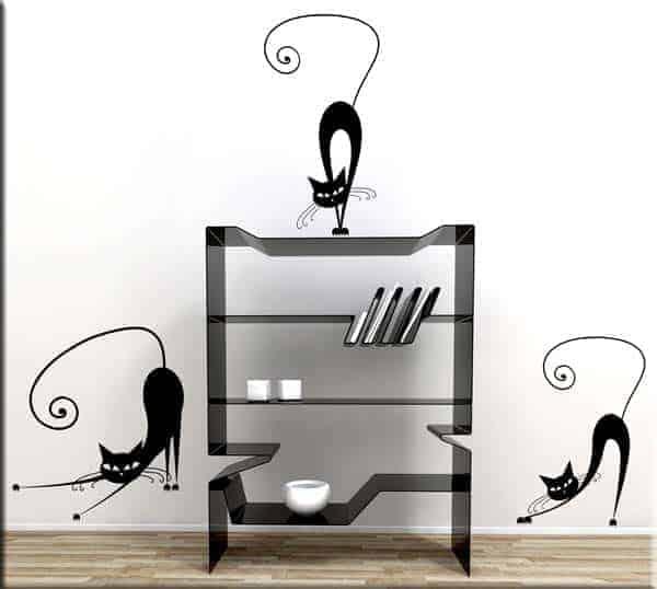 Adesivi murali gatti stilizzati arredo