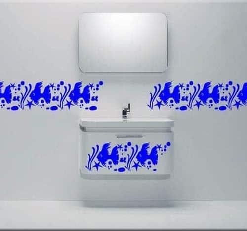 adesivi murali greca mare bagno arredo