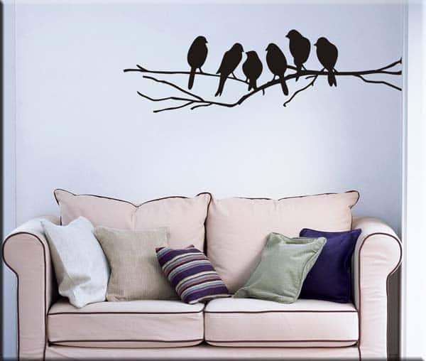 adesivi murali uccelli sul ramo