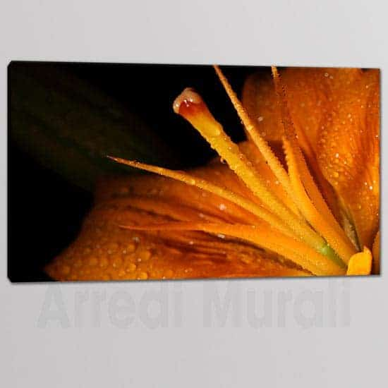Tris quadri moderni fiore stampa tela 1 tela fiore arancione