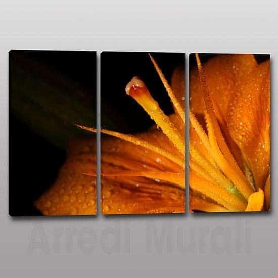 Tris quadri moderni fiore stampa tela 3 tele colore arancione
