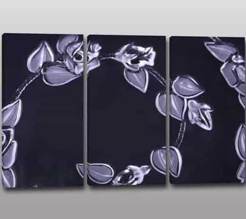 Tris quadri moderni fiori dipinti