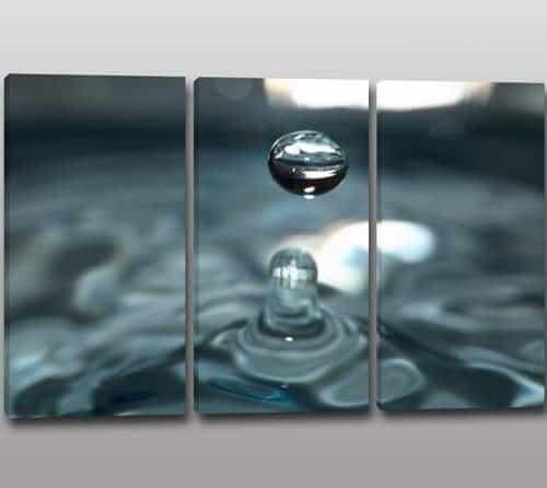 tris quadri moderni goccia acqua arredo