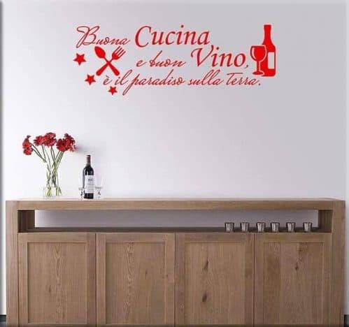 adesivi da parete frase cucina vino