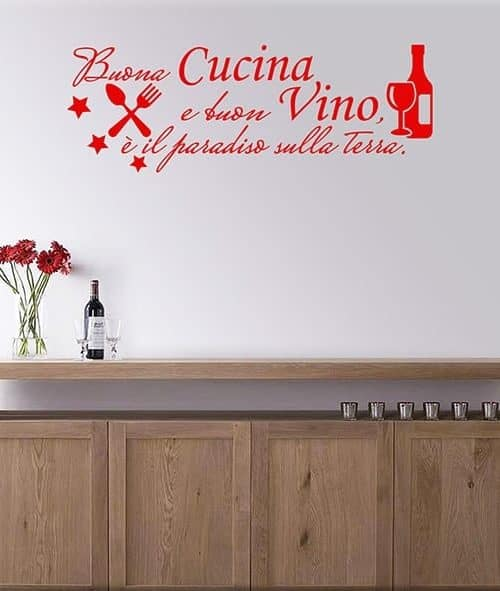 adesivi murali frase cucina vino arredo adesivi da parete frase cucina vino