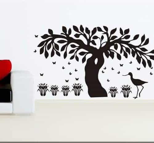 adesivi murali albero farfalle fiori