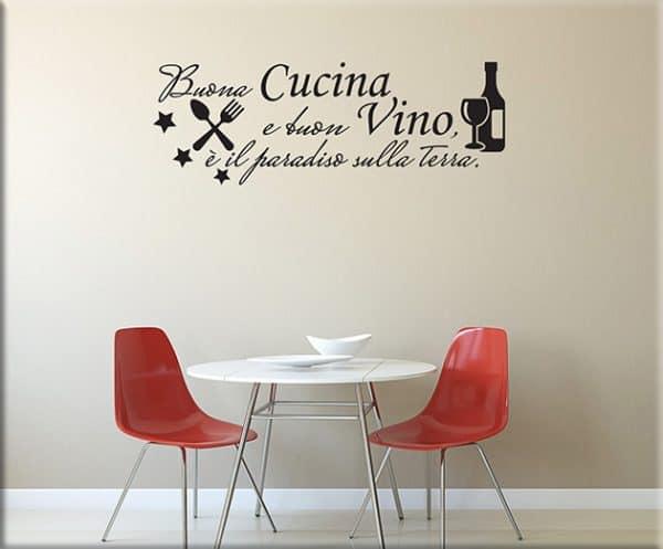 adesivi murali frase cucina vino arredo