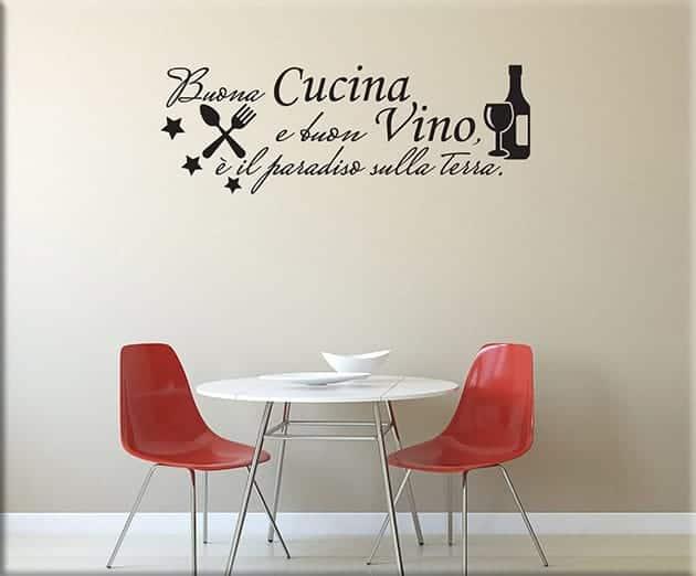 Adesivi murali frase cucina vino arredo for Adesivi muro cucina