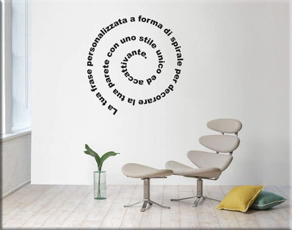 adesivi murali frase spirale personalizzata