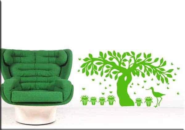 decorazioni adesive murali albero farfalle fiori