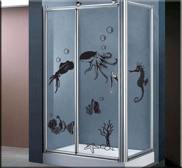 decorazioni adesive murali animali marini bagno