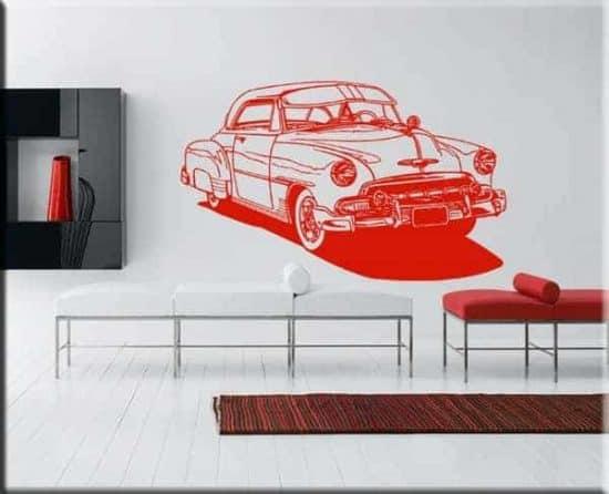 decorazioni adesive murali auto d'epoca