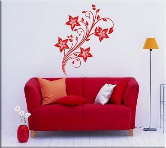 decorazioni adesive murali fiori stilizzati arredo