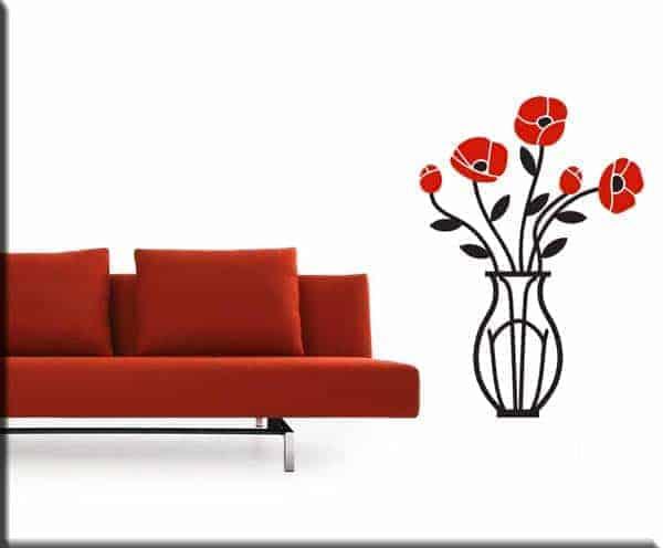 decorazioni adesive murali vaso con fiori arredo