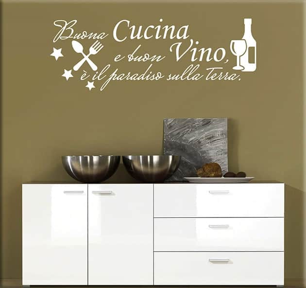 wall stickers frase cucina vino