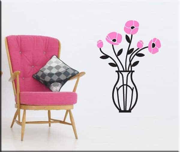 wall stickers vaso con fiori arredo
