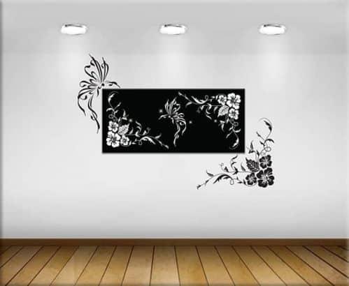 adesivi murali fiori e quadro moderno