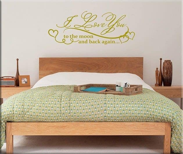 Adesivi murali frase love arredo camera da letto - Specchi adesivi da parete ...