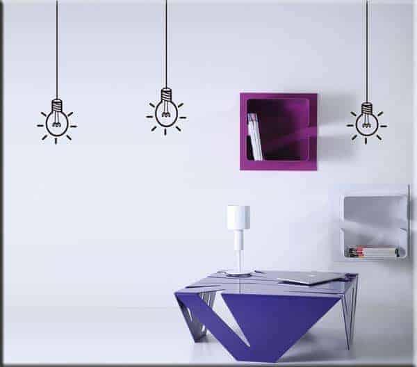 adesivi da parete tre lampadine arredo