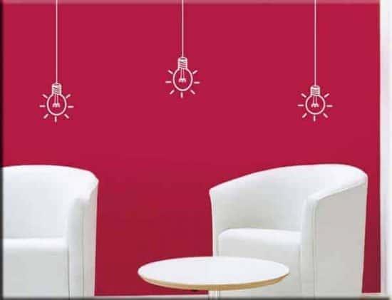 adesivi murali tre lampadine arredo casa