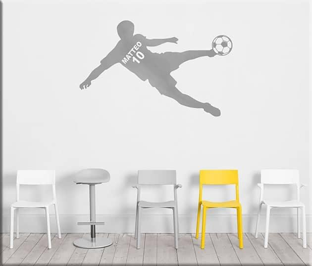 adesivo da parete calciatore personalizzato