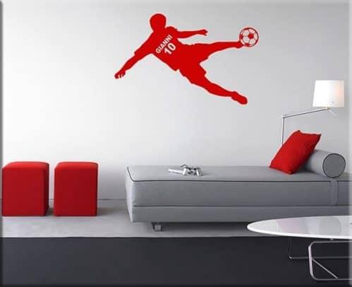 decorazione adesiva murale calciatore personalizzato