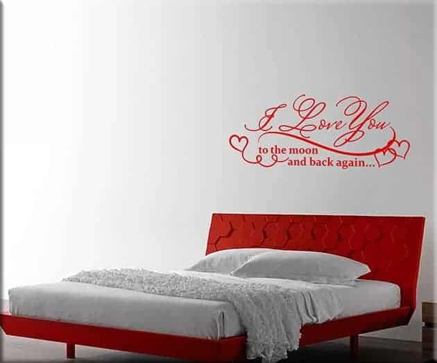 Adesivi murali frase love arredo camera da letto - Decorazioni per camera da letto ...