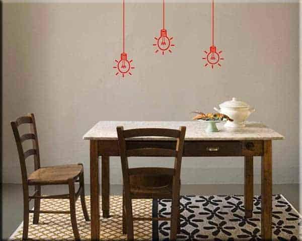 wall stickers lampadine arredo casa